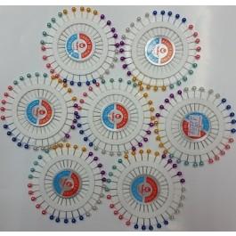 Карфици с цветна главичка подредени в кръг - 40 бройки