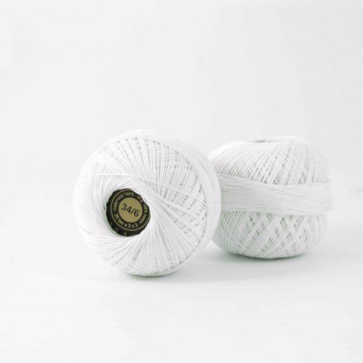 Памучно тире 34-6 бяло
