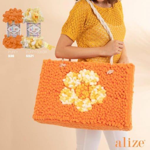 Плетена чанта от прежда Ализе Пуфи