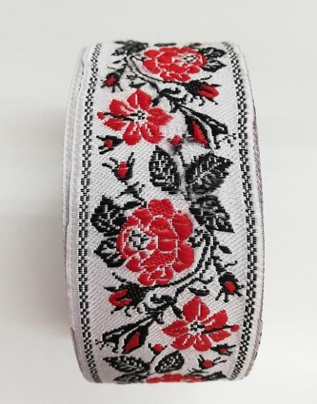Ширит за декорация на народна носия на бяла основа 5 см - Width for decoration of folk costume on white base 5 cm