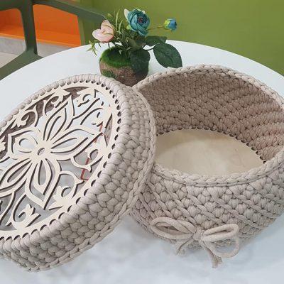 Основи и Капаци за Плетени Чанти, Панери –Форма Кръг-Ефект Цвете