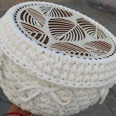 Основи и Капаци за Плетени Чанти, Панери – Форма Кръг -Ефект Листо