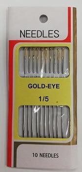"""Иглички за ръчен шев с ,,Голямо златно ухо""""- в комплект 10 бр."""