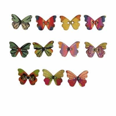 Дървени цветни пеперудки - зашиващи се